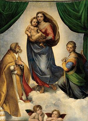RAFAEL_-_Madonna_Sixtina_(Gemäldegalerie_Alter_Meister,_Dresde,_1513-14._Óleo_sobre_lienzo,_265_x_196_cm)