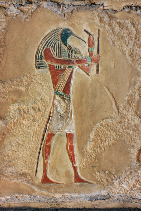Replica of antiquity wall engraving from ancient egypt - The god Thoth